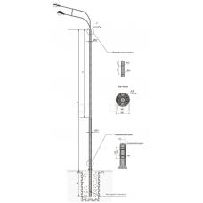 Опоры контактной сети фланцевые трубные тип ТФ