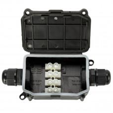 Бокс кабельный герметичный XYPG9 IP66 (B704)304 with CA10 4P, 3 вывода, IP66, черный, 2 винта крышки, винтовая колодка CA10, 4 Пин, PG9, 0,5-2,5мм2, полипропилен, размеры корпуса  52,5х60х31мм