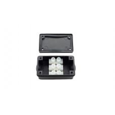 Бокс кабельный герметичный РА8, 2 вывода, IP44, черный, 4 винта крышки, винтовая колодка, 3 Пин, 2,5мм2, полиамид, размеры корпуса 51х26х21,8мм