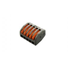 Клемма соединительная 222-415, рычажковая, 5 Пин, полиамид, IP20, провод 4мм2, оранжевые рычажки, зажим отверстие Mono, без ножки
