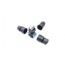 Коннектор-разветвитель герметичный XY221-IP68-T, Т-образный с 3 отводами, без клапана, с рычажковой клеммой 221, рычажки синего цвета, длина 93 мм, кабель-кабель, 3 Пин, паралл, IP68, неразъемный, провод 0.75-2.5мм2, 6OD8; 9OD 11