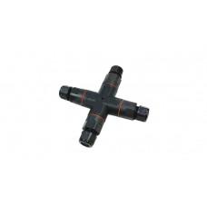 Коннектор-разветвитель герметичный XY222X (3P), X-образный с 3 отводами, без клапана, с рычажковой клеммой 222, рычажки красного, синего и оранжевого цвета, длина 151 мм, кабель-кабель, 3 Пин, паралл, IP68, неразъемный, провод 0.5-2.5мм2, 6OD8; 9OD11
